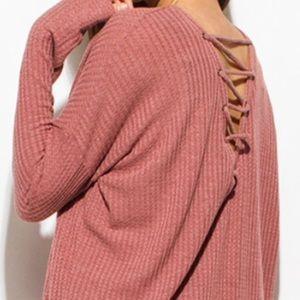 Long sleeve boat neck lace up boho knit top